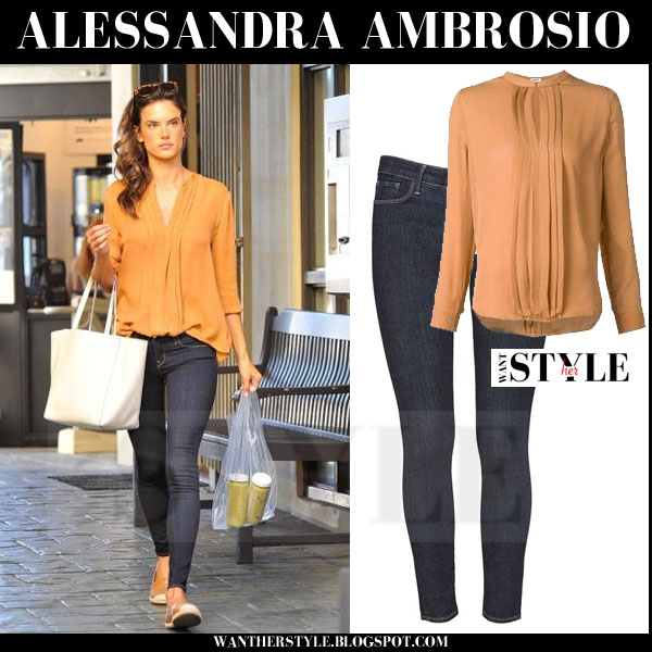 Alessandra Ambrosio in camel blouse, dark blue skinny jeans with white tote what she wore models off duty