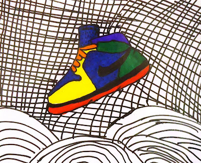 Contour Line Drawing Shoes Lesson Plan : Lesson plan: hip hop contour line shoes ~ artful artsy amy