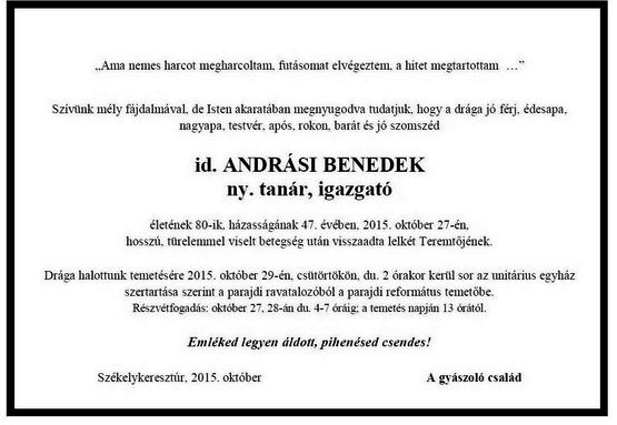 Andrási Benedek - gyászjelentés