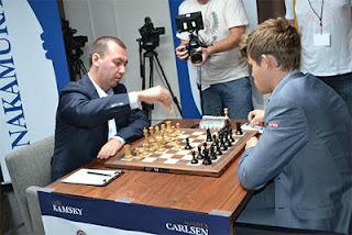 Echecs à Saint-Louis ronde 4 : Gata Kamsky (2741) 0-1 Magnus Carlsen (2862) - Photo © Chessbase