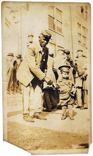 An old Black Confederate Solider and his Grandson