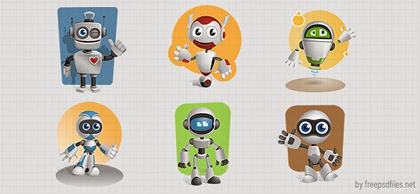 Cartoon Characters As Robots : Free download vektor robot format psd