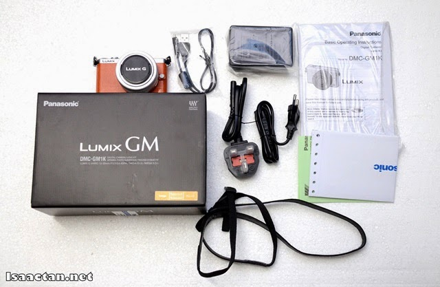 Unboxing the contents of the Panasonic Lumix DMC-GM1 box