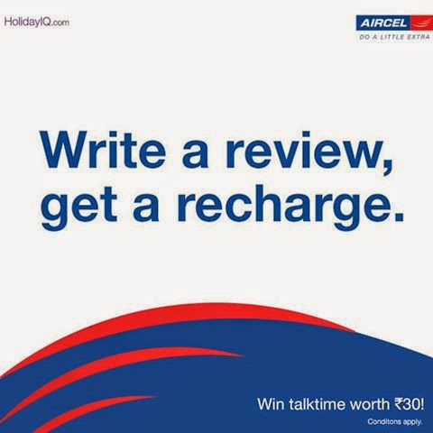 Write A Review At Holiday IQ & Get Rs 30 Mobile Recharge From Aircel
