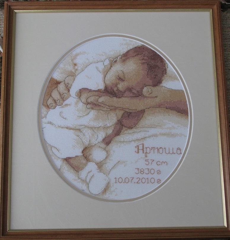 Вышивка метрика младенец на руках 71