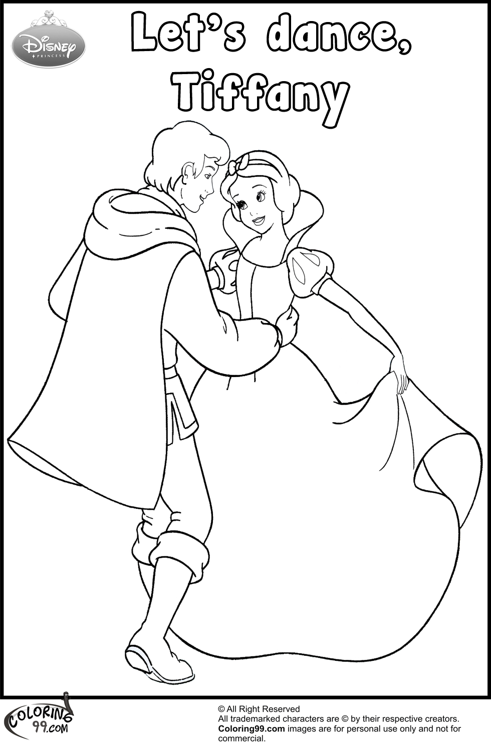 snow white and the prince coloring pages team colors