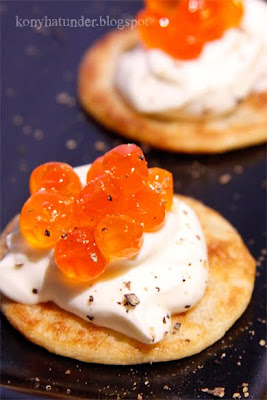mini blinis with salmon roe