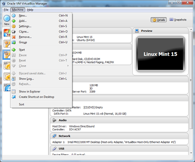 virtualbox menu machine
