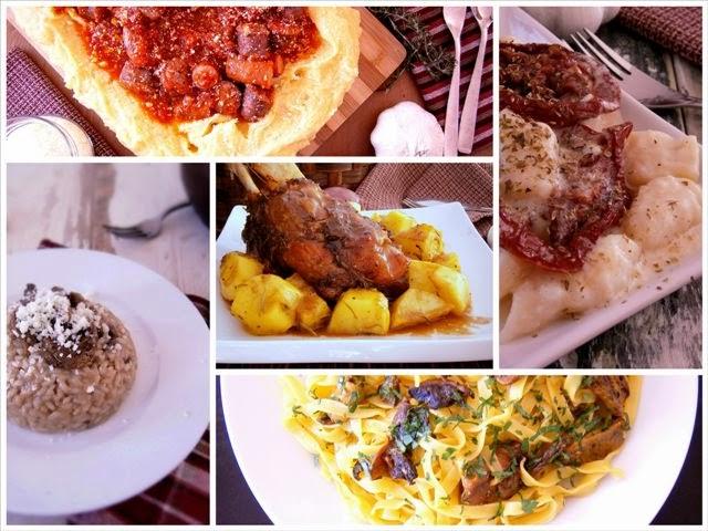 Κότσι, ταλιατέλες με μανιτάρια πορτσίνι, πολέντα με λουκάνικα, νιόκι με σάλτσα φέτας και λιαστή ντομάτα, ριζότο με μανιτάρια του δάσους