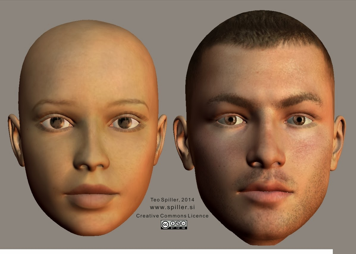 Young face shape (female, male) enface