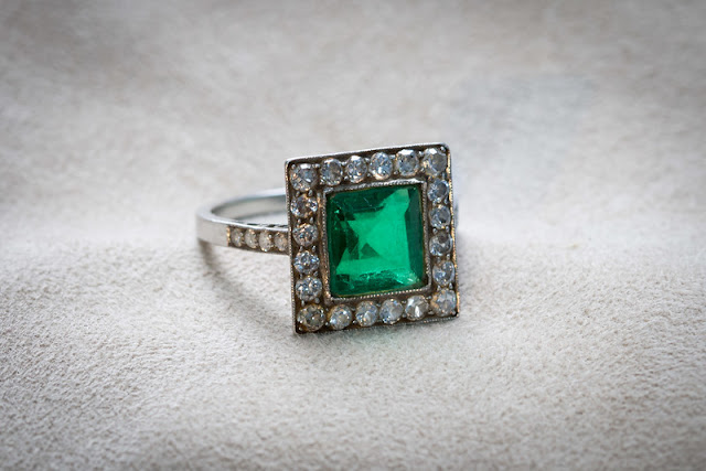 estate antique engagement ring step cut emerald bead set