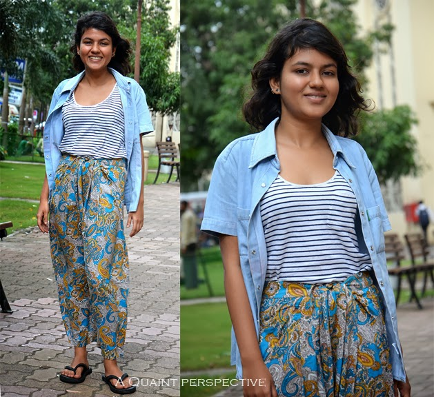 Adore the comfort with which she has mixed patterns in her cool casual style.