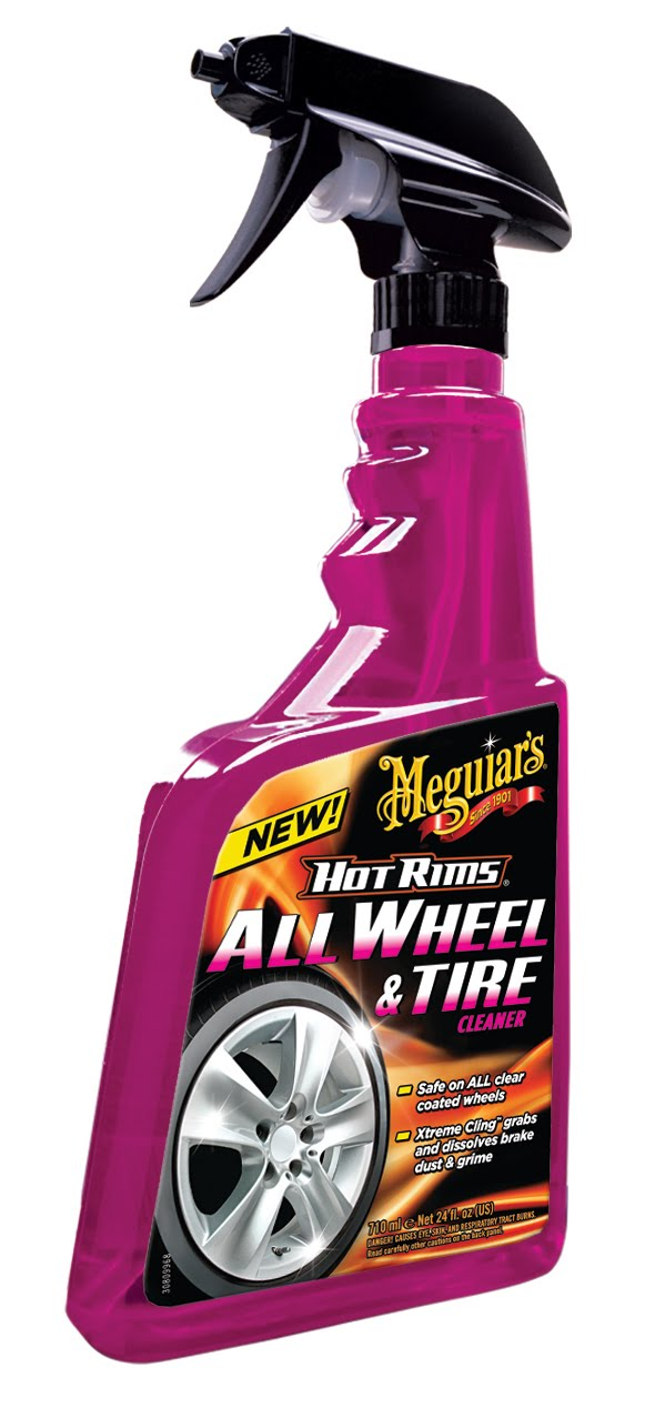 Spraying Tire Cleaner Before Car Wash
