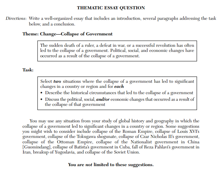 thematic essay question revolutions + the answer key to the multiple choice questions + sample thematic & dbq essays january 2008 revolutions: [world] history regents state essay topics.