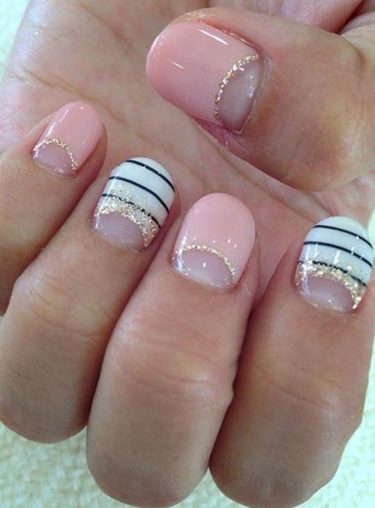 cute Half Moon Glitter Nails designs for wedding 2016
