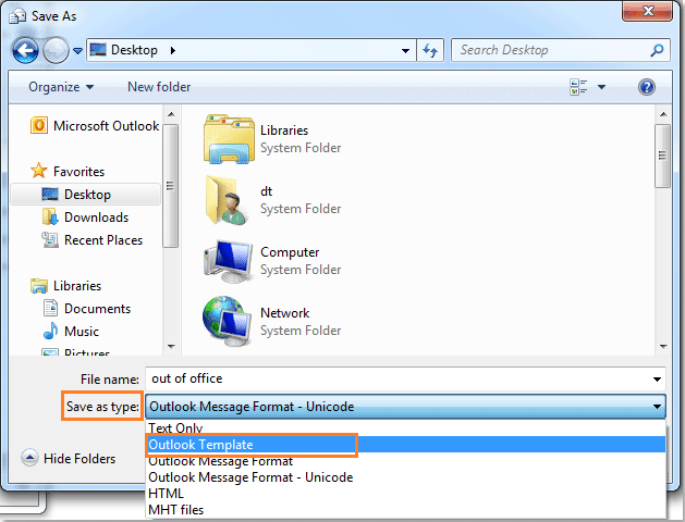 How to set out of office in outlook 2010 esupport - Out of office outlook 2013 ...