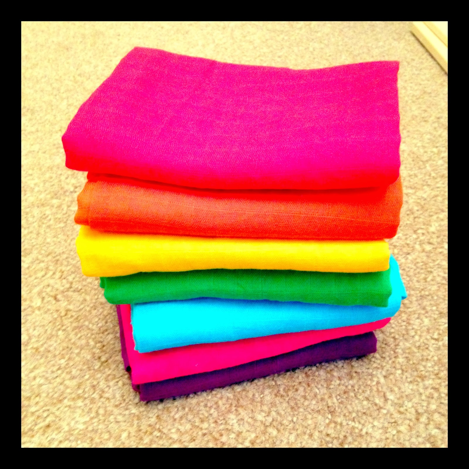 Rainbow muslins from Faye & Lou