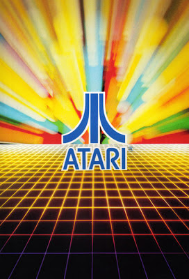 Atari Fuji Symbol over a grid and in front of slit-scan colours.