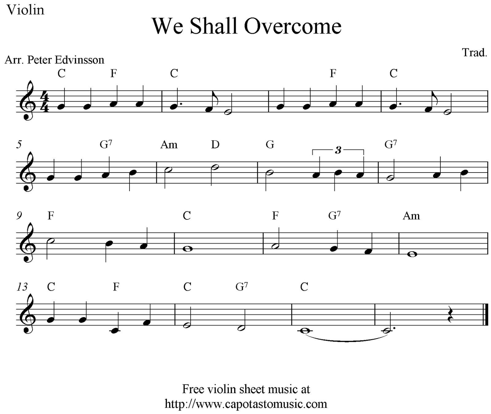 Free Christmas Violin Sheet Music O: We Shall Overcome, Free Violin Sheet Music Notes