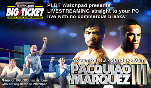 Pacquiao vs Marquez PLDT DSL WatchPad Live Stream Free
