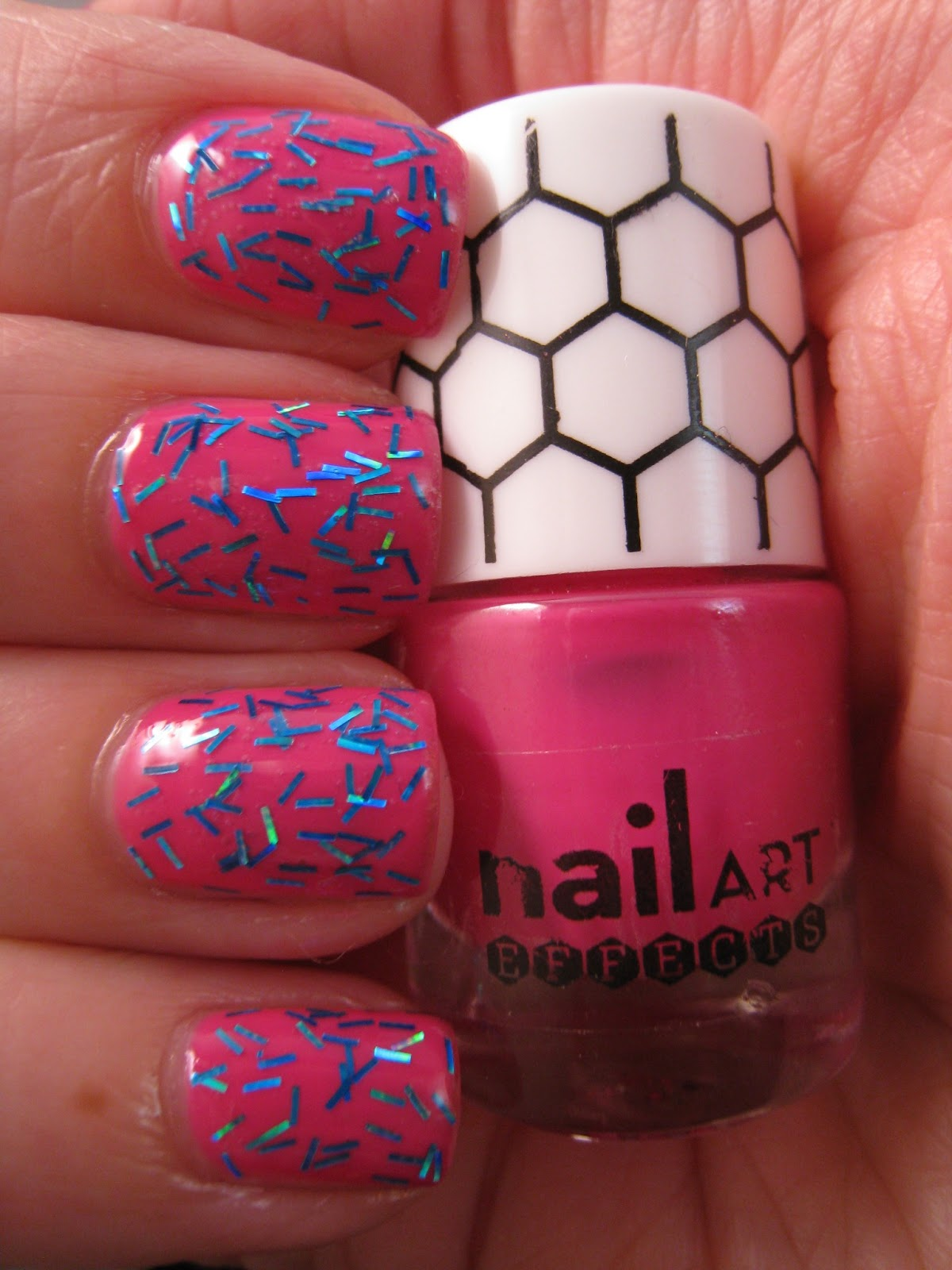 Naily perfect: Neon pink with blue holographic glitter bars by ...