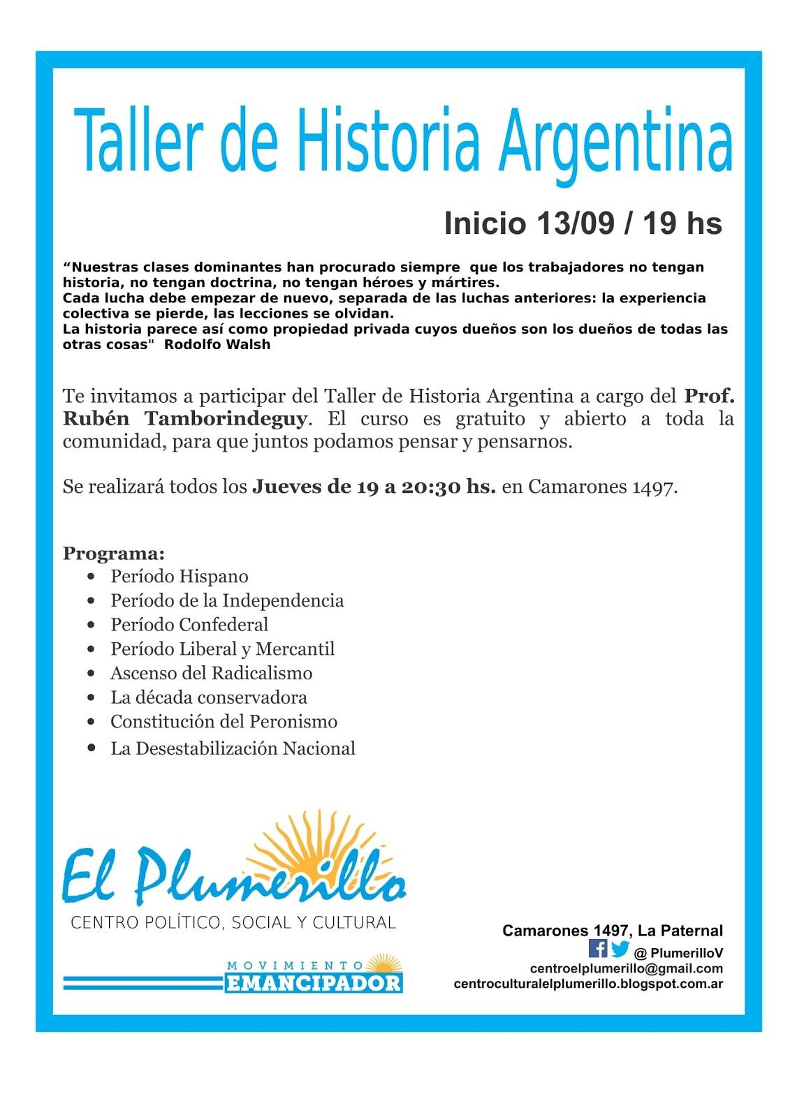 Taller de Historia Argentina - Jueves 19 hs.