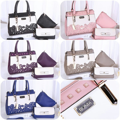 BONIA DESIGNER BAG (3 IN 1 SET) - BLACK , BLUE , GREY , PINK , PURPLE