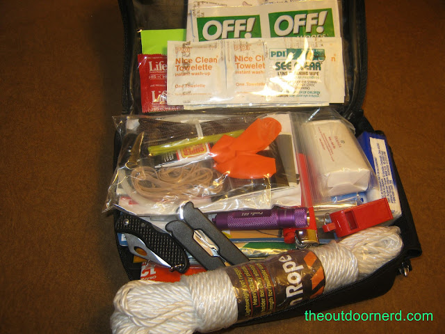 Car survival kit, shown with contents - alternate view
