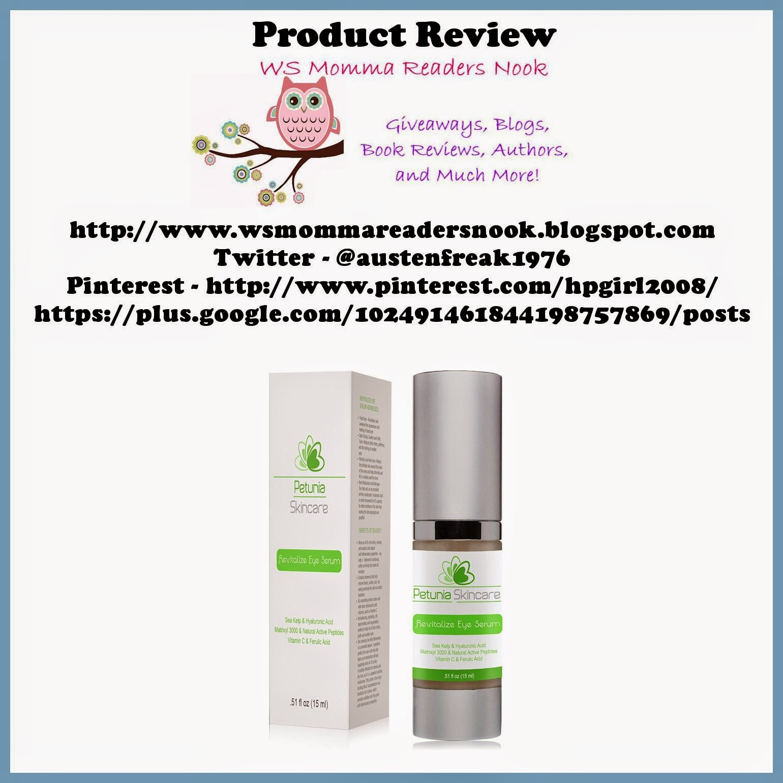 http://www.amazon.com/Petunia-Skincare-Moisturizing-Moisturizes--Book/dp/B00IIB82FS/ref=sr_1_1?ie=UTF8&qid=1415158318&sr=8-1&keywords=petunia+skincare+revitalize+eye+serum