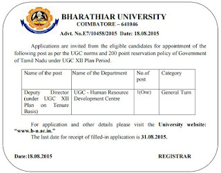 Applications are invited for Deputy Director Post in Bharathiar University