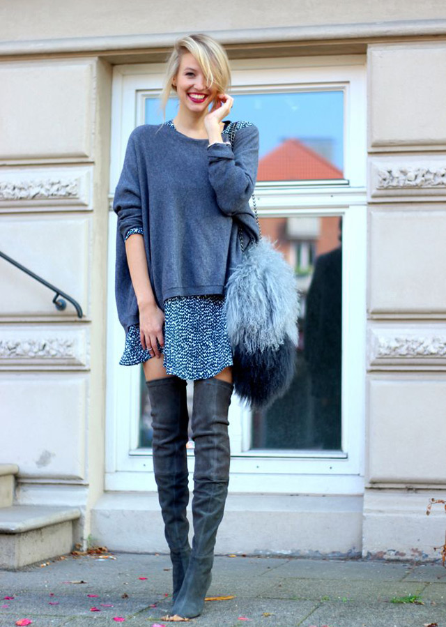 how and what to wear with over the knee boots: mini skirt, down jacket, blazer layering with check scarf and denim jacket, turpleneck