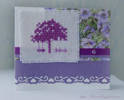 вышивка дерево монохром, вышивка и скрап, открытка с вышивкой,  Une Anee a Broder, открытка сиреневая,