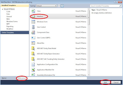 Add interface in wcf windows service