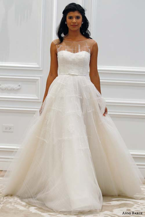 a-line, ball gown, bateau, blush, color, couture, illusion, illusion neckline, label: Anne Barge, mermaid, romantic, scoop, season: Spring/Summer, sleeveless, strapless, straps, sweetheart, week: 282015, year: 2016
