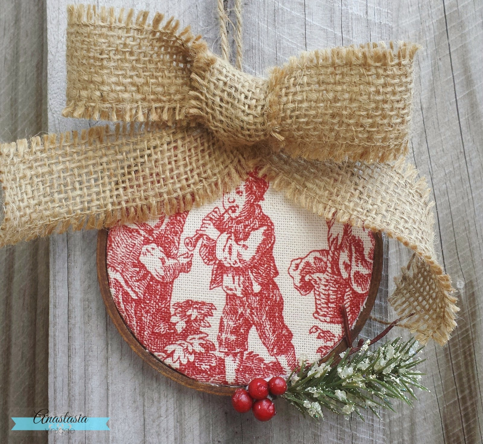 red toile burlap Christmas ornament
