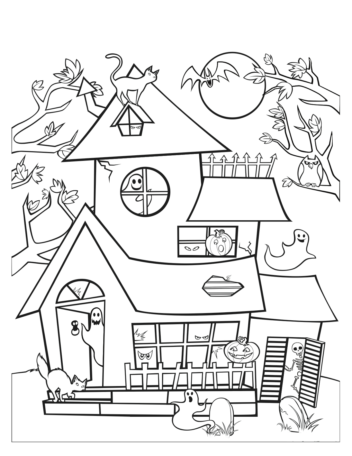 Cantinho do primeiro ciclo desenhos de halloween para pintar for Coloring pages of haunted houses