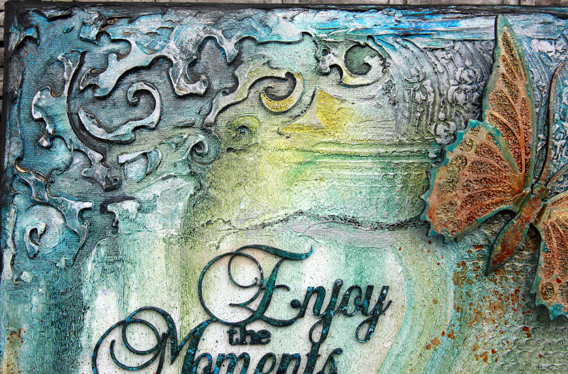 Scrapbook ideas on canvas - To Get This Effect On The Title Paint Unevenly With The Black Dabber Paint In Splotches So That There Is Still Raw Chipboard Showing