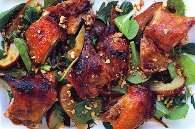 Tamarind and orange roast duck with warm pear salad Recipe