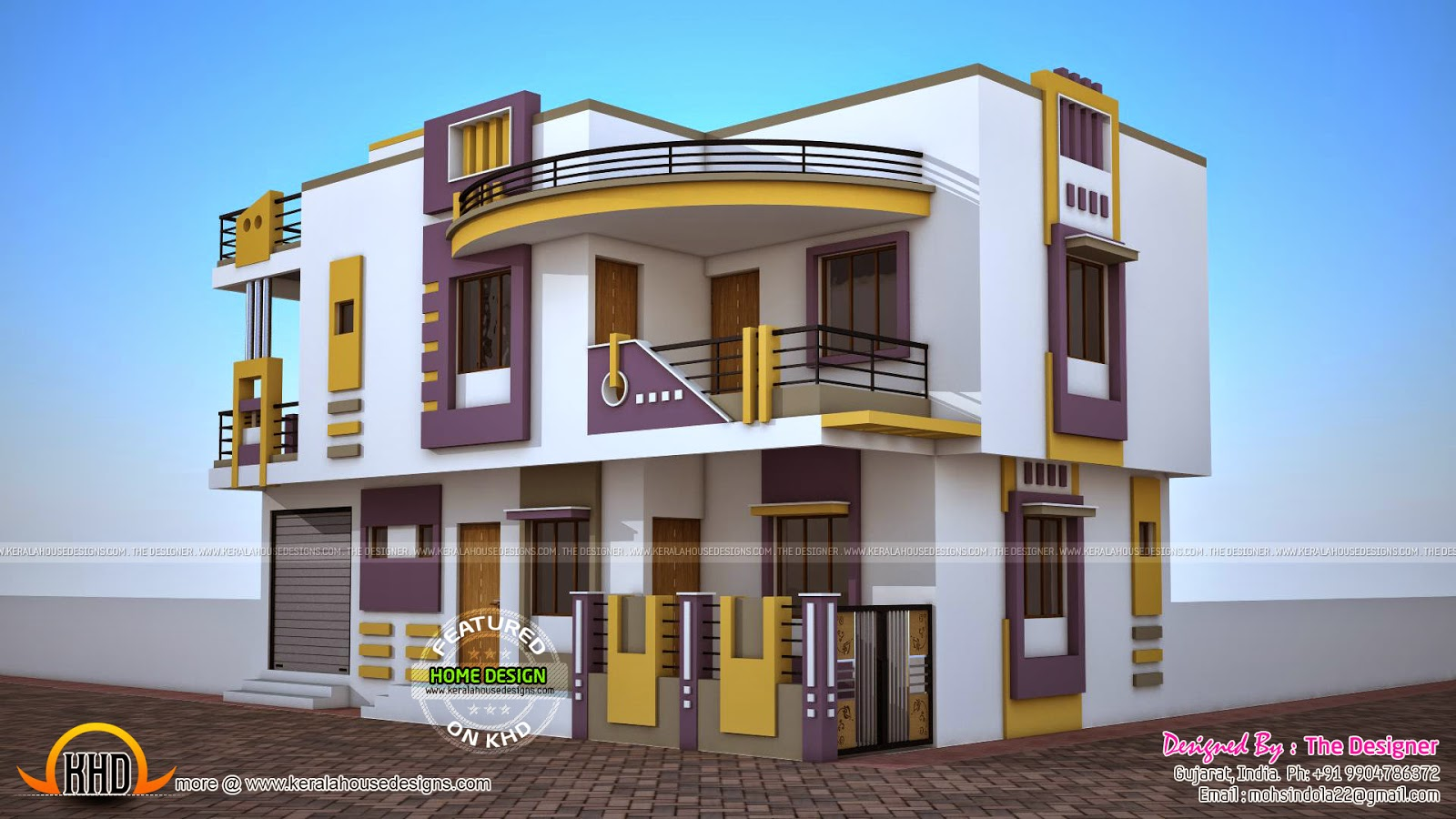 India contemporary house plan kerala home design and for Free small house plans indian style
