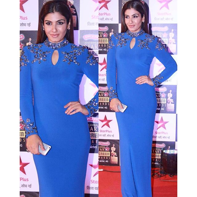 Raveena Tandon in Namrata Joshipura Bright Cobalt Blue Full Sleeves High Neck Long Gown