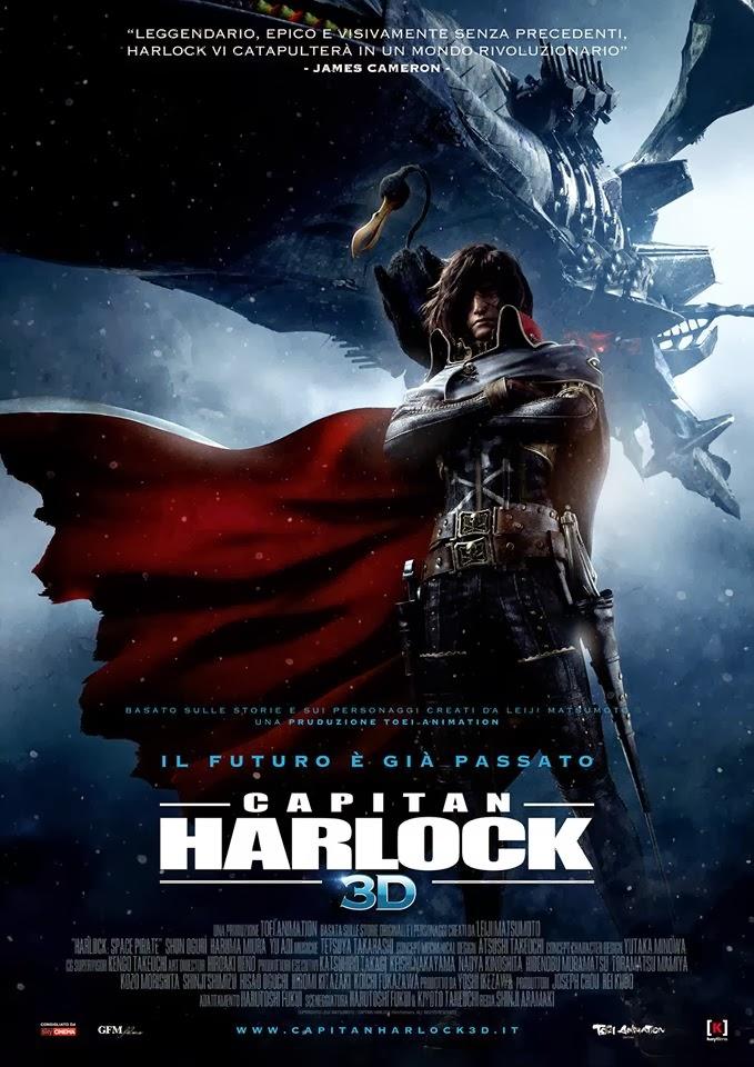 Locandina italiana film 3d computer grafica capitan Harlock