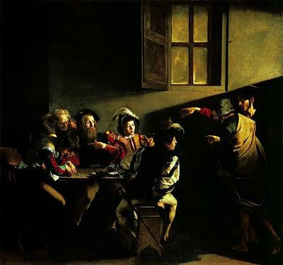 In un'osteria, Cristo appare a Matteo che sta giocando d'azzardo assieme ai suoi compagni. La scena è tagliata a metà dall'ombra, la luce illumina una finestra e, solo alla fine, sulla sinistra, San Matteo.