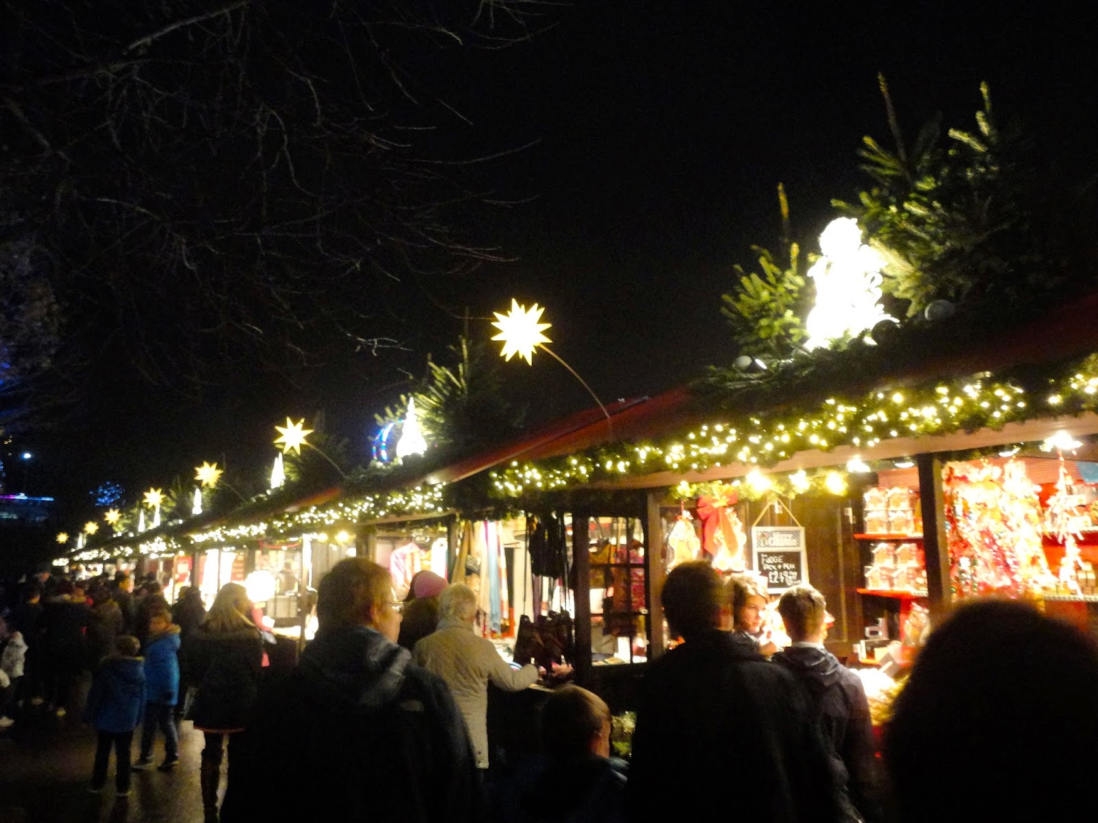 German market stalls in Edinburgh's Winter Wonderland at Christmas in Princes Street Gardens