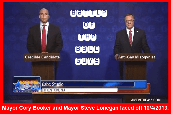 Mayor Cory Booker and Mayor Steve Lonegan debated each other on Friday October 4th, 2013 in Trenton, NJ.