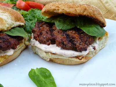 Beef & Chorizo Burgers w/ Chipotle Sour Cream Sauce