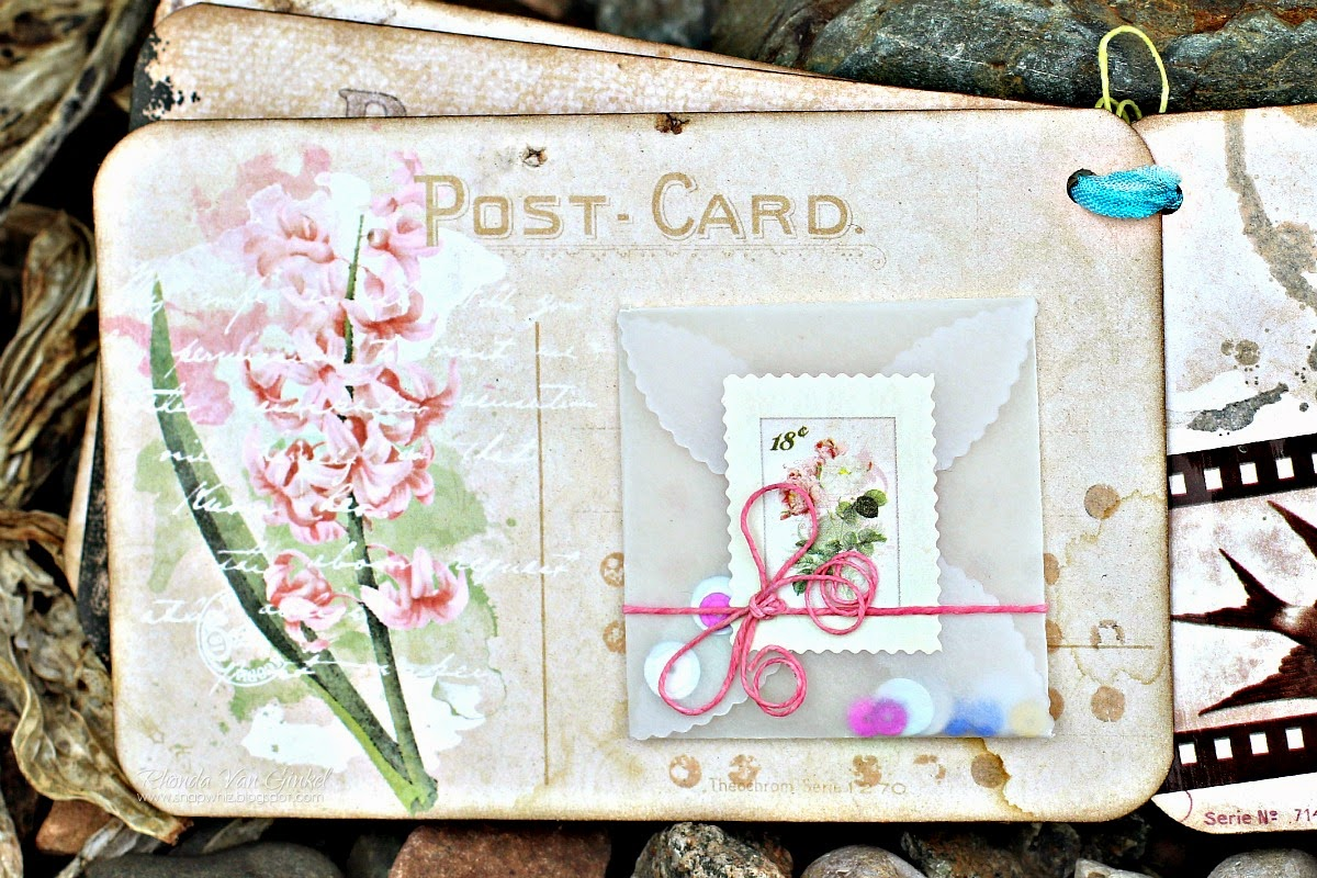 Garden Journal Post Card Mini Album by Rhonda Van Ginkel featuring Garden Journal Collection by BoBunny