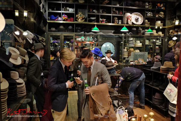 Mens' business at the Strand Hatters, The Strand Arcade, Evening with our Designers. Photography by Kent Johnson.