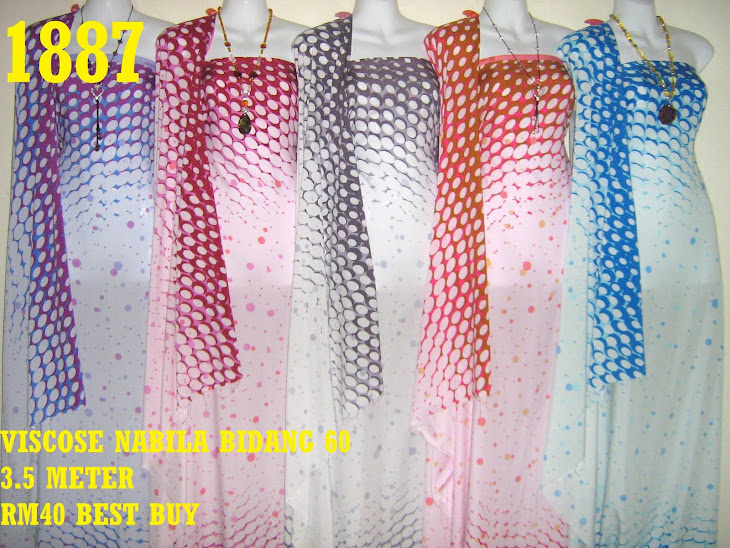 VN 1887: VISCOSE NABILA BIDANG 60 INCI, 3.5 METER, 5 COLORS