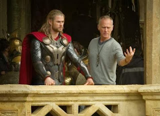 director Alan Taylor and Chris Hemsworth in 'Thor The Dark World'
