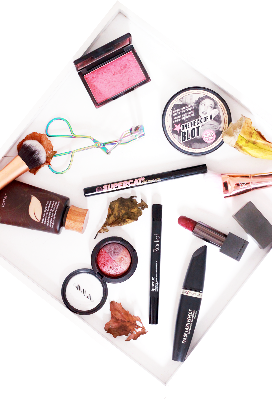 A picture of autumnal make-up products